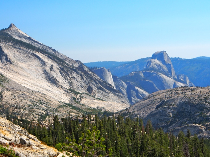 Views of half dome on the descent.