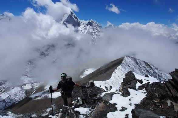 After this ridge, the hike to Chhukung Ri turns into a spicy 3rd and 4th class scramble!