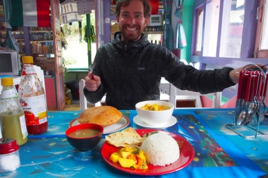 Nothing better than dal bhat, pumpkin curry, and corn bread after a day of trekking