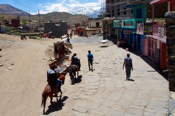 Visitors making their pilgrimage via horseback to the temples in Muktinath