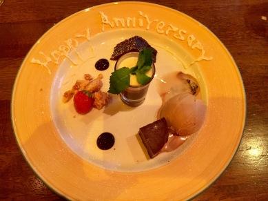 Anniversary celebration dessert