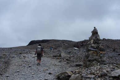 Large cairns adorn the summit path