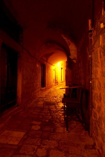 Dubrovnik's old city is full of narrow, winding alleys and mysterious torch-lit passageways