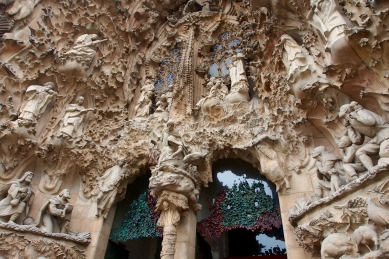 A remarkable and intricate nativity scene decorates the front entrance of La Sagrada Familia