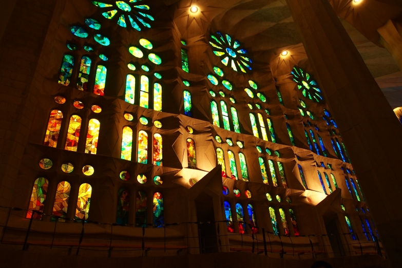 The colors of the stained glass at La Sagrada Familia are wondrous