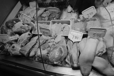 A unique variety of animal parts are available in Barcelona's market