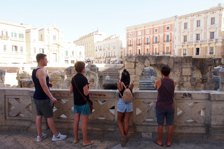 Observing the ruins in Lecce