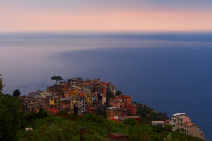 Sunset run above Corniglia of the Cinque Terre, Italy