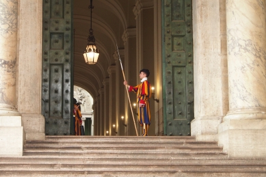 Swiss guards at the entrance to Vatican City