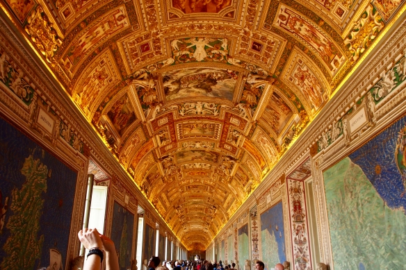 The elaborate ceiling of the Vatican Museum en route to the Sistine Chapel