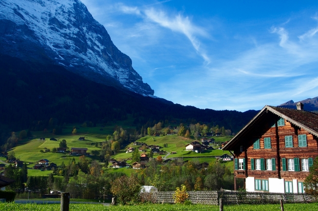 The Eiger's North Face and Grindelwald's chalets below